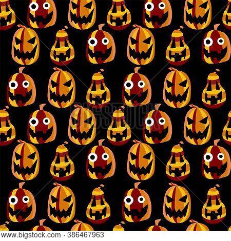 Halloween Smiling Pumpkins Vector Seamless Pattern. Orange-yellow-red Carved Pumpkin Lanterns On Bla