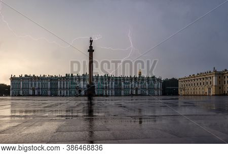 Palace Square During Storm With Lightnings, Saint-petersburg, Russia, Hermitage And Alexander Column