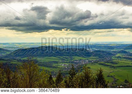 View From Velky Javornik In The Beskydy Mountains To Frenstat Pod Radhostem In The Czech Republic. T