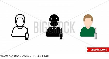 Military Shooter Icon Of 3 Types Color, Black And White, Outline. Isolated Vector Sign Symbol.