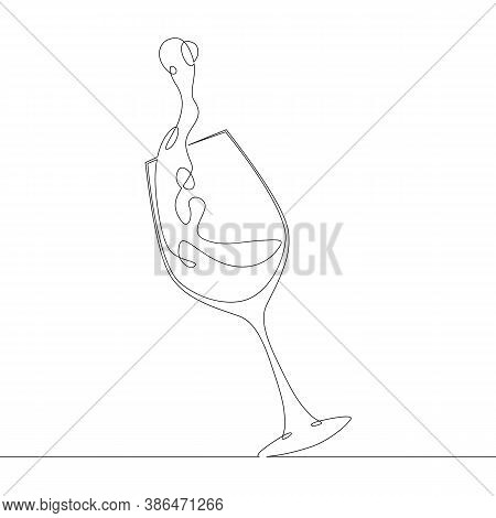 One Continuous Drawing Line Logo Glass Bowl Goblet For Alcoholic Drinks And Cup Wine  Side View .sin