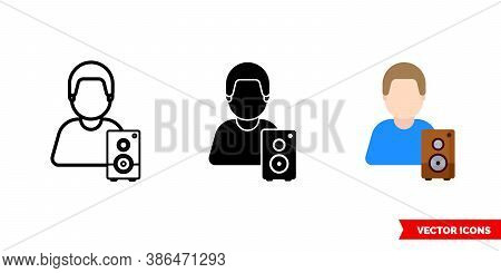 Musician Player Icon Of 3 Types Color, Black And White, Outline. Isolated Vector Sign Symbol.