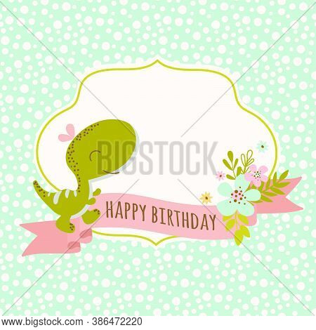 Birthday Card Dino Hand Drawn Flat Design Grunge Style Cartoon Prehistoric Animal Vector Illustratio