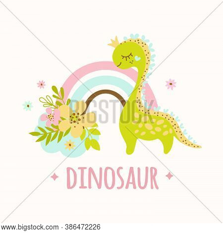 Dino And Rainbow Hand Drawn Flat Design Grunge Style Cartoon Prehistoric Animal Vector Illustration