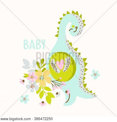 Dino With Flowers Hand Drawn Flat Design Grunge Style Cartoon Prehistoric Animal Kid Apparel Vector