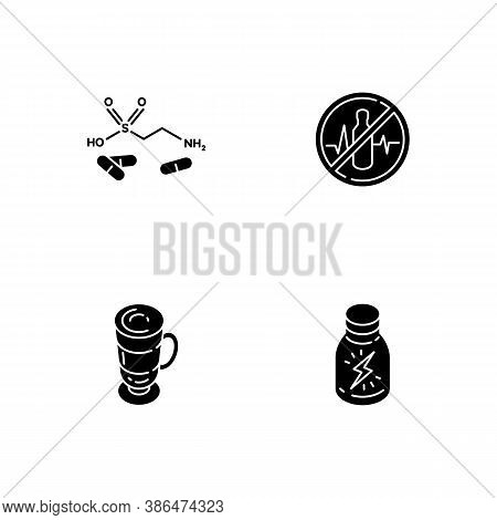 Energy Drinks Black Glyph Icons Set On White Space. Taurine Formula. Health Warning. Coffee Cup. Sho