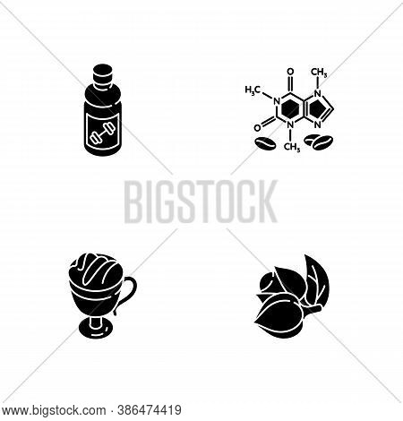 Drinks And Ingredients Black Glyph Icons Set On White Space. Caffeine Formula. Guarana Plant. Coffee