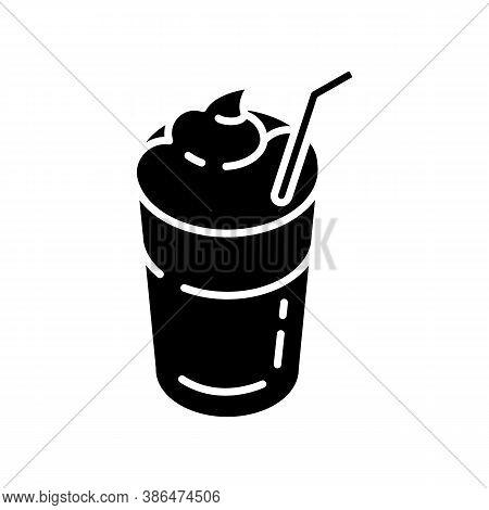Mocha Black Glyph Icon. Coffee Drink With Foam And Straw. Beverage In Glass Mug. Cafe Menu. Refreshe