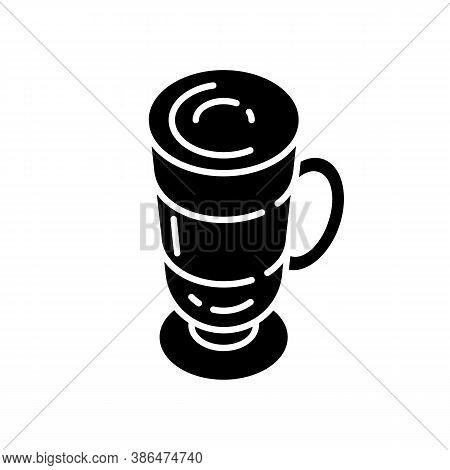 Frappe Black Glyph Icon. Layered Drink In Glass Mug. Macchiato In Mug. Cafe Menu. Coffee With Foam.