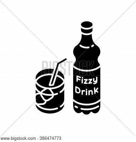 Fizzy Drink Black Glyph Icon. Iced Beverage In Bottle. Liquid In Mug. Sparkling Soft Drink. Bar Menu