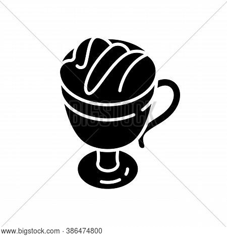 Macchiato Black Glyph Icon. Coffee Drink In Glass Mug. Frappe With Foam. Hot Beverage In Cup. Coffee