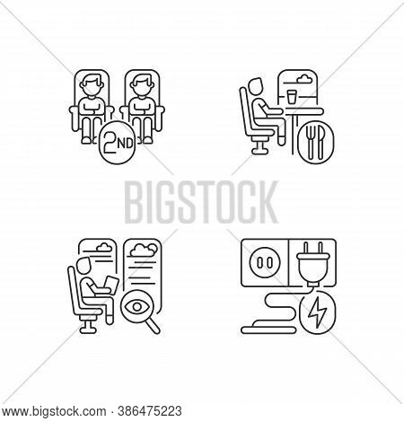Economy Class Train Services Linear Icons Set. Second Class Seats, Sockets, Observation And Dining C