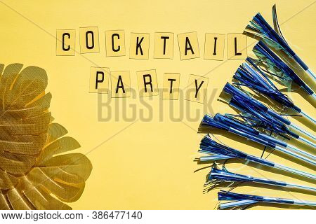 Creative Composition With Colorful Straw On Bright Background. Shiny Sequins, Cocktail Straws, Trend