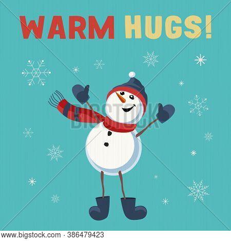 Fancy Seasonal Vector Poster. Cartoon Playful Fun Snowmen Cartoon. Merry Christmas Winter Season War