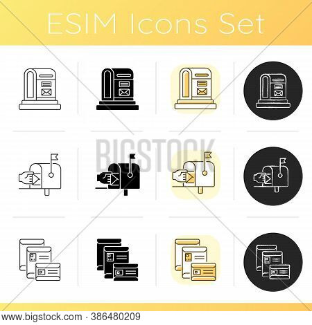 Mail Icons Set. Linear, Black And Rgb Color Styles. Street Postbox, Residential Mailbox And Letter E