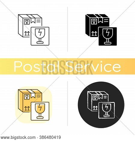 Fragile Items Chalk White Icon. Linear Black And Rgb Color Styles. Breakable Box Content. Postal Ser