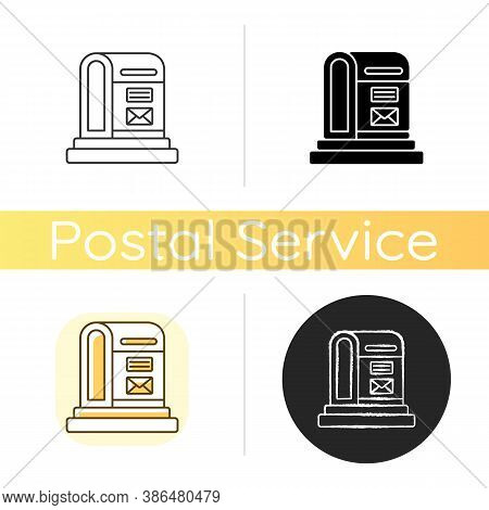 Parcel Post Chalk White Icon. Linear Black And Rgb Color Styles. Public Postal Service. Mail Transpo