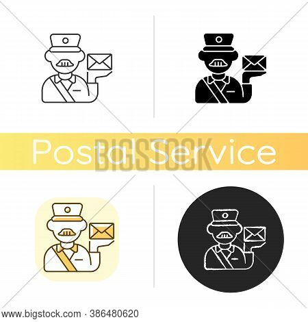 Postman Chalk White Icon. Linear Black And Rgb Color Styles. Professional Mailman, Mail Deliverer. P