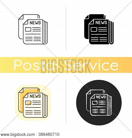 Newspaper Chalk White Icon. Linear Black And Rgb Color Styles. Mass Media, Postal Service, Journalis