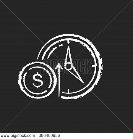 Numismatic Value Chalk White Icon On Black Background. Monetary Gain. Coin With Dollar Sign. Market