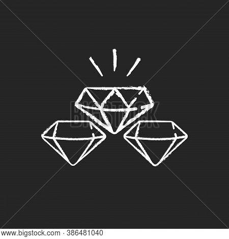 Precious Gems Chalk White Icon On Black Background. Gemstones For Jewellery. Luxury Diamond. Treasur