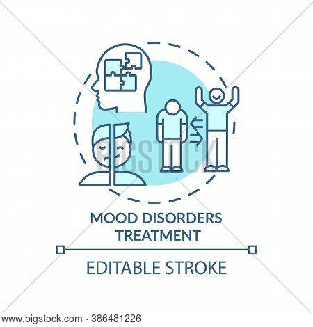 Mood Disorders Treatment Concept Icon. Bipolar Disorder Diagnostics Idea Thin Line Illustration. Dep