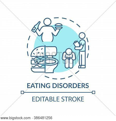 Eating Disorders Concept Icon. Complex Mental Health Conditions Idea Thin Line Illustration. Anorexi