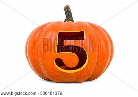 Number 5 Halloween Font. Pumpkin With Carved 5, 3d Rendering Isolated On White Background
