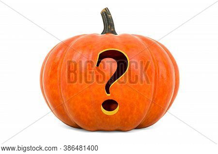 Question Mark Halloween Font. Pumpkin With Carved Question, 3d Rendering Isolated On White Backgroun
