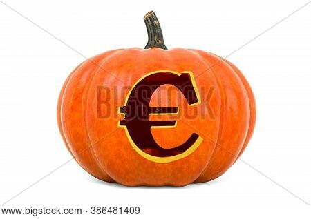 Euro Symbol Halloween Font. Pumpkin With Carved Euro, 3d Rendering Isolated On White Background