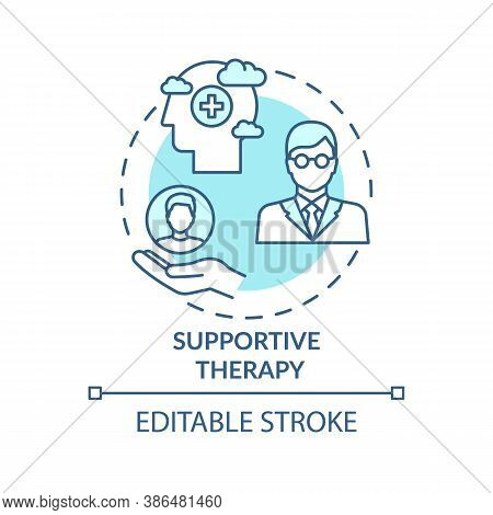 Supportive Therapy Concept Icon. Physiological Well-being Improvement Idea Thin Line Illustration. H