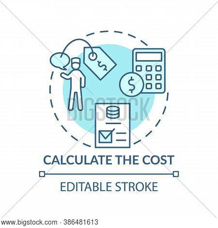 Calculate Cost Concept Icon. Therapy Calculator Idea Thin Line Illustration. Cost-effective. Psychol