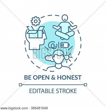 Be Open And Honest Concept Icon. Self-worth Sense Idea Thin Line Illustration. Emotional And Mental