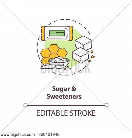 Sugar And Sweeteners Concept Icon. Diet Energy Drinks Idea Thin Line Illustration. Zero Calories Art