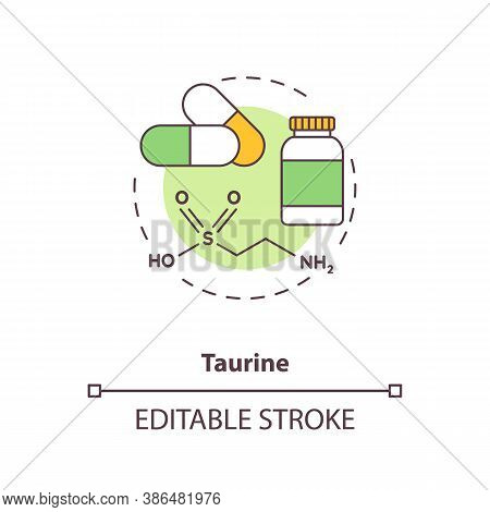 Taurine Concept Icon. Energy Drinks Ingredient Idea Thin Line Illustration. Body Metabolic Processes