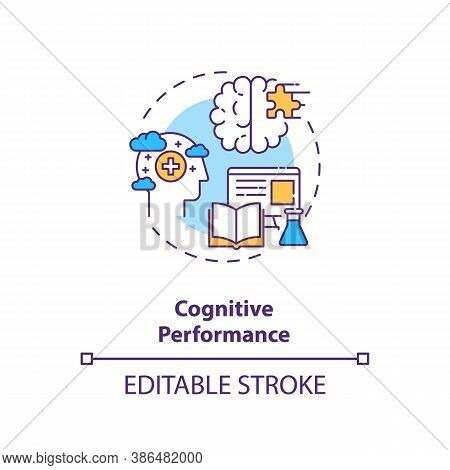 Cognitive Performance Concept Icon. Energy Drinks Effects Idea Thin Line Illustration. Caffeine Pres