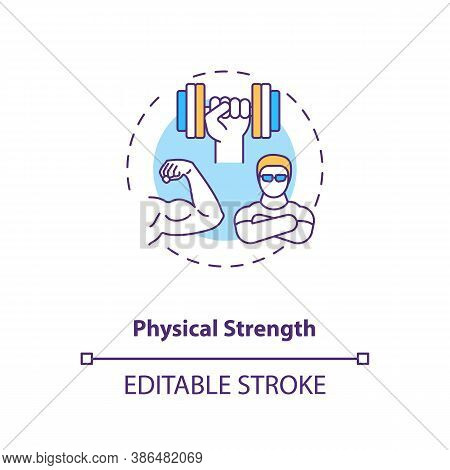 Physical Strength Building Concept Icon. Sports Energy Drinks Idea Thin Line Illustration. Power Per