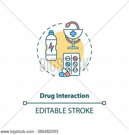 Drug Interaction Concept Icon. Medication Taking Idea Thin Line Illustration. Energy Drinks Danger.