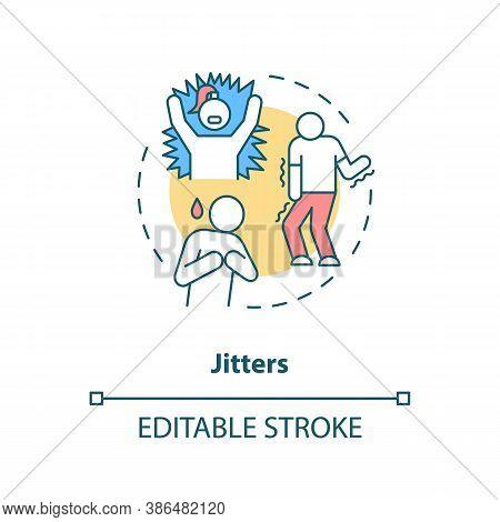 Jitters Concept Icon. Adrenaline Levels Boost Idea Thin Line Illustration. High Blood Pressure. Swea