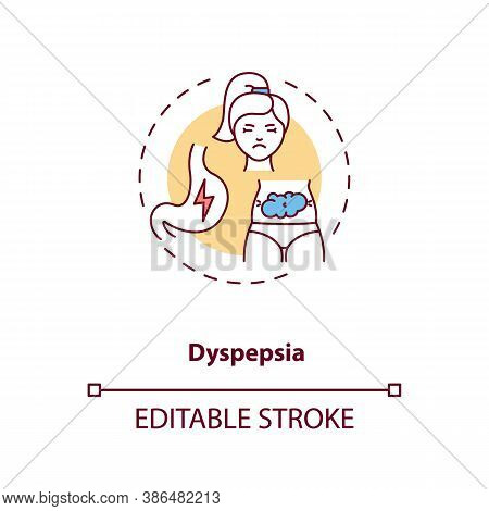 Dyspepsia Concept Icon. Stomach Problems Idea Thin Line Illustration. Energy Drinks Side Effects. Ac