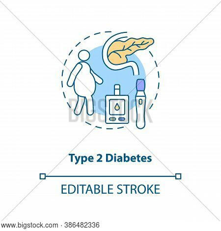 Type 2 Diabetes Concept Icon. Blood Sugar Spike Idea Thin Line Illustration. Insulin Resistance. Hig