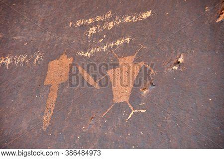 Interesting And Strange Petroglyphs At Newspaper Rock, Utah.