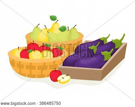 Cartoon Fruits And Vegetables In Basket Isolated On White.