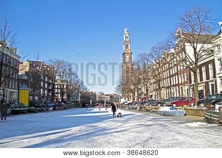 Winter in Amsterdam the Netherlands with the Westerkerk