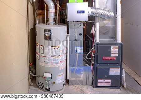 Calgary, Alberta, Canada. Sep 21, 2020. A Home Goodman High Efficiency Furnace With Bradford White R