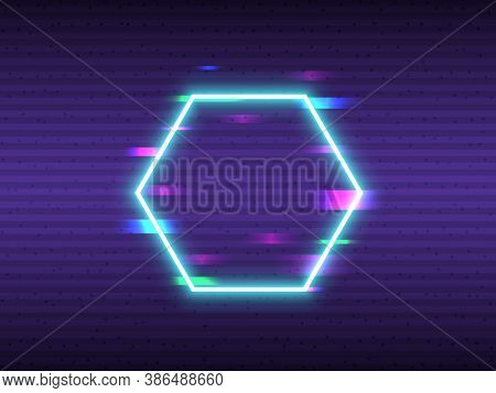 Glitch Hexagon Element. Neon Frame Design With Digital Distortions. Abstract Shapes With Vhs Effect.