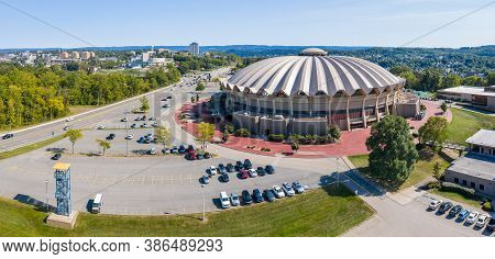 Morgantown, Wv - 22 September 2020: Aerial Panorama Of The Wvu Coliseum Sports Arena On Evansdale Ca