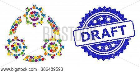 Vibrant Mosaic Gear Planetary Transmission, And Draft Grunge Rosette Seal Imitation. Blue Seal Inclu