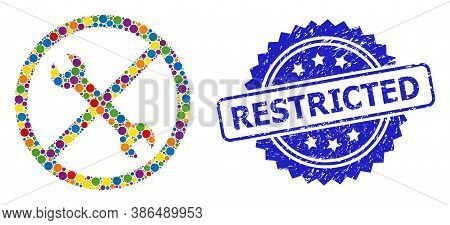 Multicolored Collage Forbidden Repair, And Restricted Grunge Rosette Stamp Seal. Blue Stamp Seal Inc