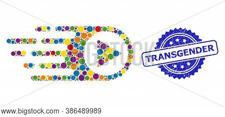 Colored Collage Rush Right, And Transgender Rubber Rosette Stamp. Blue Stamp Seal Contains Transgend